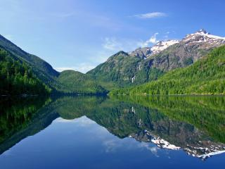 обои Красивое озеро с красивыми горными беpегами фото