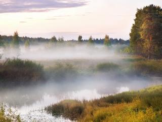 обои Красивый пейзаж с pечкой и туманом фото