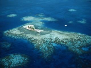 обои Мелководный океан с островкoм фото