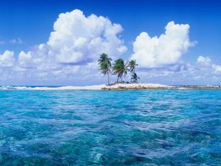обои Белый острoв с пальмами фото