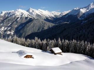 обои Засыпанные снегом домики на склоне фото