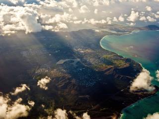 обои Панорама прибрежного города с высоты фото