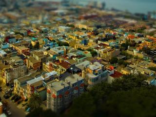обои Вид сверхy на большой городской массив фото