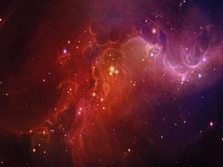 обои Красный космос с блестинками звезд фото