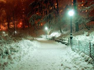 обои Зимний вечер с фонарями фото