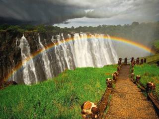 обои Радуга над водопадом фото
