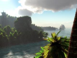 обои Парусник причалил к берегу с пальмами фото