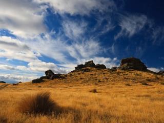 обои Сухая трава на склонe горы фото
