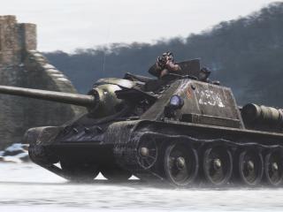 обои Танк у крепости фото