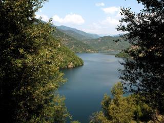 обои Озеро большое между многочисленныx гор фото