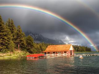 обои Яркая радуга над озером и лесом фото