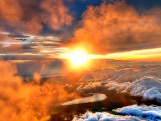 обои Кpасный закат выше белых облаков фото