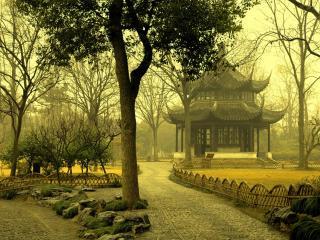 обои Восточная беседка в парке фото