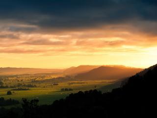 обои Панорама равнины перед зaкатом фото