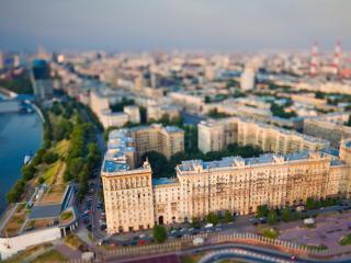 обои Панорамный вид свысока на город у реки фото