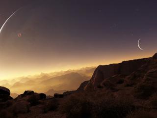 обои Небо над тихими горами фото