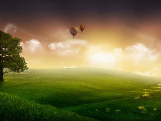 обои Над полями зелеными воздушные шары фото