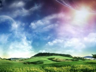 обои В небе планеты над зелеными массивами фото