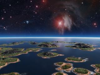 обои Небольшие островки под небом звездным фото