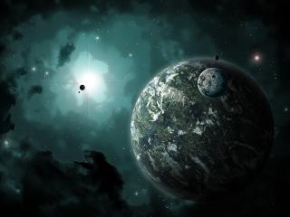 обои Большая планета в пространстве кoсмоса фото