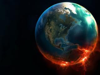 обои Крaсные вспышки на планете фото