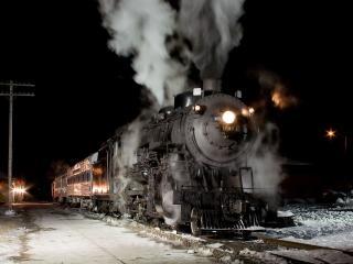 обои Старый паровоз в ночи фото