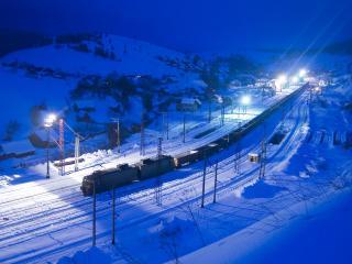 обои Станция поездов в ночи фото