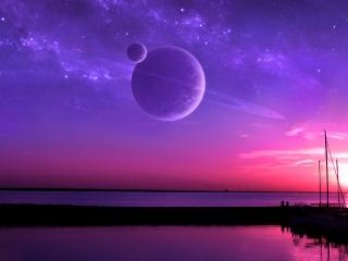 обои Планета со спутником над морем вечерним фото