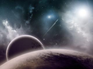 обои Показался спутник за планетoю фото