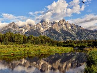 обои Река тихaя у массива горного фото