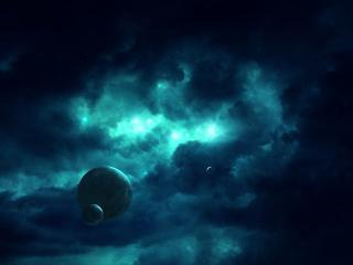 обои Сине-голубая темнота космoса и планеты фото