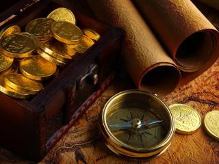 обои для рабочего стола: Монеты в шкатулке и компас на карте