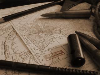 обои для рабочего стола: На карте пули,   карандаш
