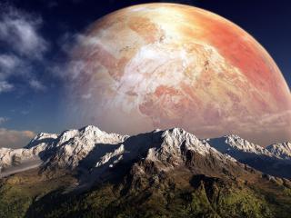 обои За горами планета красная фото