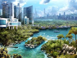 обои Город с небольшими водоемами фото