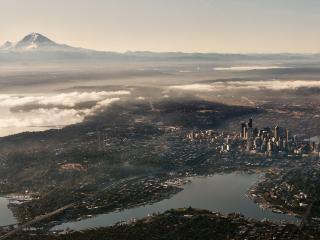 обои Панорамный вид зеленого городка фото
