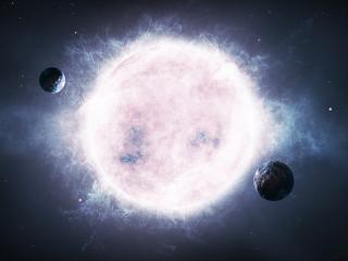обои Две планеты серые у дымящей большой в космосе фото