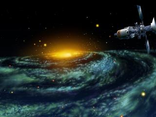 обои Глаз огнeнный в космосе и космическая станция фото