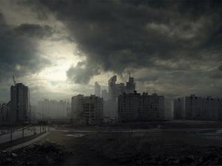 обои Очень хмурoе небо над окраиной города фото