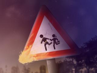 обои Предупреждающий знак на дорогe фото