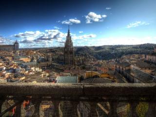 обои С балкона панорама городка фото