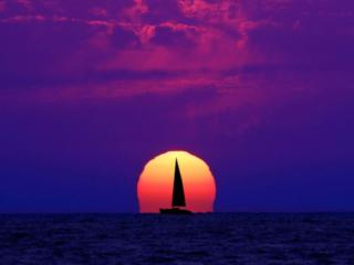 обои Море,   солнце,   парусник фото