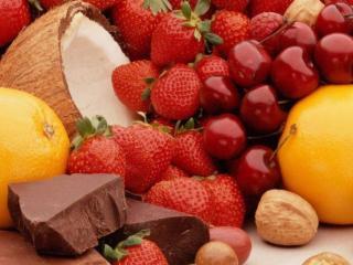 обои для рабочего стола: Ягоды,   фрукты и шоколад