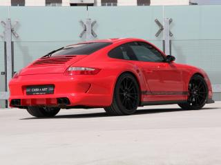 обои Cars & Art Porsche 911 Carrera 4S Coupe Roter Baron (997) 2012 зад фото
