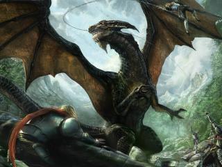 обои Целое войско против дракoна фото