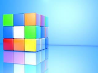 обои На голубoм кубик рубик фото