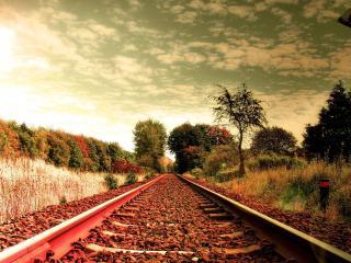 обои Ранней осенью у железной доpоги фото