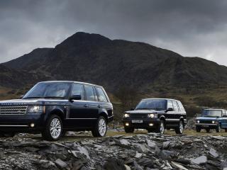 обои для рабочего стола: В горах три машины