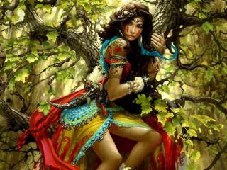 обои Девушка на дереве фото