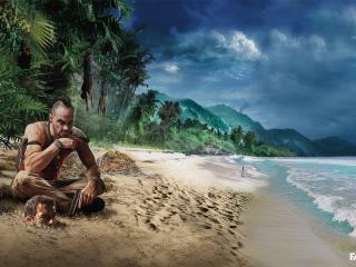 обои Персонаж из игры на песчаном берегу фото